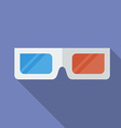 Icon of 3d cinema glasses flat style vector
