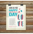 Happy valentines day party poster design template vector