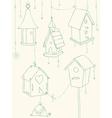 Bird house doodle card vector