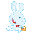 Blue bunny running with easter eggs in a basket vector