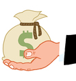 Bussines hand holding money bag vector