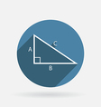 Triangle math circle blue icon with shadow vector