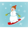 Snowman and snowboard winter sport vector
