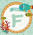 Abc animals f is fish childrens english alphabet vector