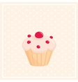 Sweet cupcake on white polka dots pink background vector