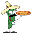 Green pepper character holding a pizza vector