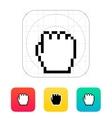 Pixel fist cursor icon vector