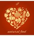 Natural food heart vector