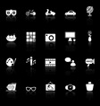Favorite and like icons with reflect on black vector