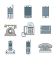 Colored outline various phone devices icons set vector