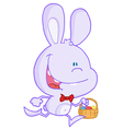 Happy pale purple bunny running with easter eggs vector