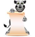 Cute rhino cartoon with blank sign vector
