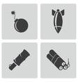 Black bomb icons set vector