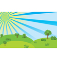 Summer landscape with blue sky and sunshine vector