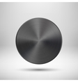 Black abstract circle button with metal texture vector