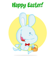 Blue bunny with an easter basket vector