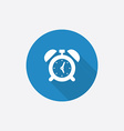 Alarm clock flat blue simple icon with long shadow vector
