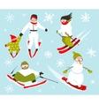Skier snowboarder snowflakes winter sport set vector