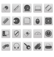 Computer icons on gray squares vector