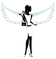 Silhouette of a pretty young woman angel vector