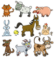 Farm animals doodle vector