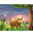 A bear under the tree with four butterflies vector