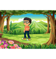 A boy at the forest vector