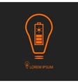 Orange bulb with solar battery on black vector