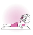 Young girl doing yoga exercise isolated on white vector