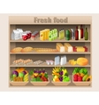Supermarket shelves food and drinks vector