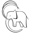 Black and white elephant vector