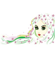 Floral girl with white hair2 vector