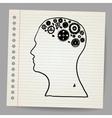 Doodle cog wheels forming a brain vector