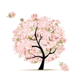 Pink floral tree sketch for your design vector