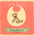 Retro baby shower card with teddy bear vector