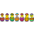 Chickens in easter eggs cartoon vector