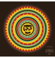 Abstract round label with sun and hipster skull vector