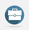 Circle blue icon with shadow briefcase vector