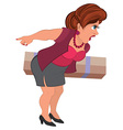 Cartoon woman in gray skirt with box vector