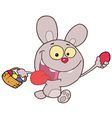 Purple bunny running and holding up an egg vector