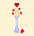 Valentines day hearts in grinded vase background vector