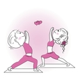 Young girl and boy doing yoga exercise isolated on vector