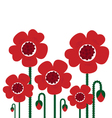 Red poppy flowers isolated on white - retro vector