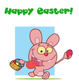 Easter greeting above a pink rabbit vector