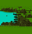 City with port vector