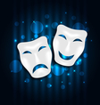 Comedy and tragedy theatre masks on blue vector