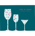 Abstract colorful drops three wine glasses vector