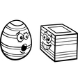 Easter square egg coloring page vector