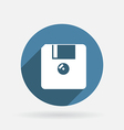 Floppy diskette circle blue icon with shadow vector