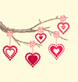 Valentines day hearts on a branch background vector